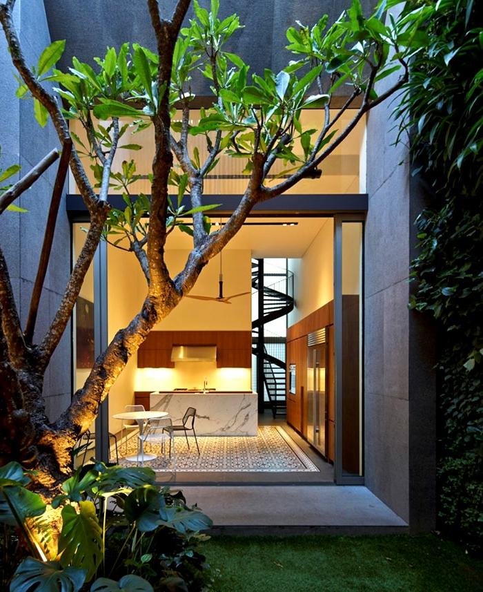 escaleras, casa moderna con ventanal y patio con planta trepadora, cocina con comedor, escalera de caracol metálica negra