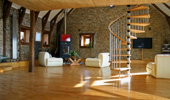 escaleras, salón grande rústico con paredes de piedra y chimenea, techo con vigas, escalera de caracol modular con barandilla