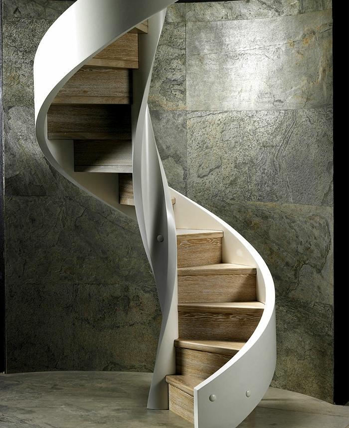 1001 ideas de originales escaleras de caracol con mucho - Barandilla madera exterior ...
