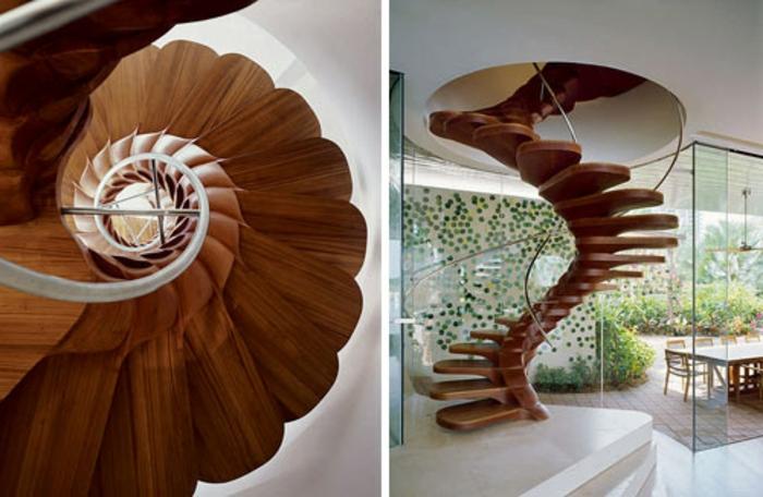 escalera caracol, interior moderno con paredes de vidrio, escalera de caracolñ de madera arecido a columna vertebral