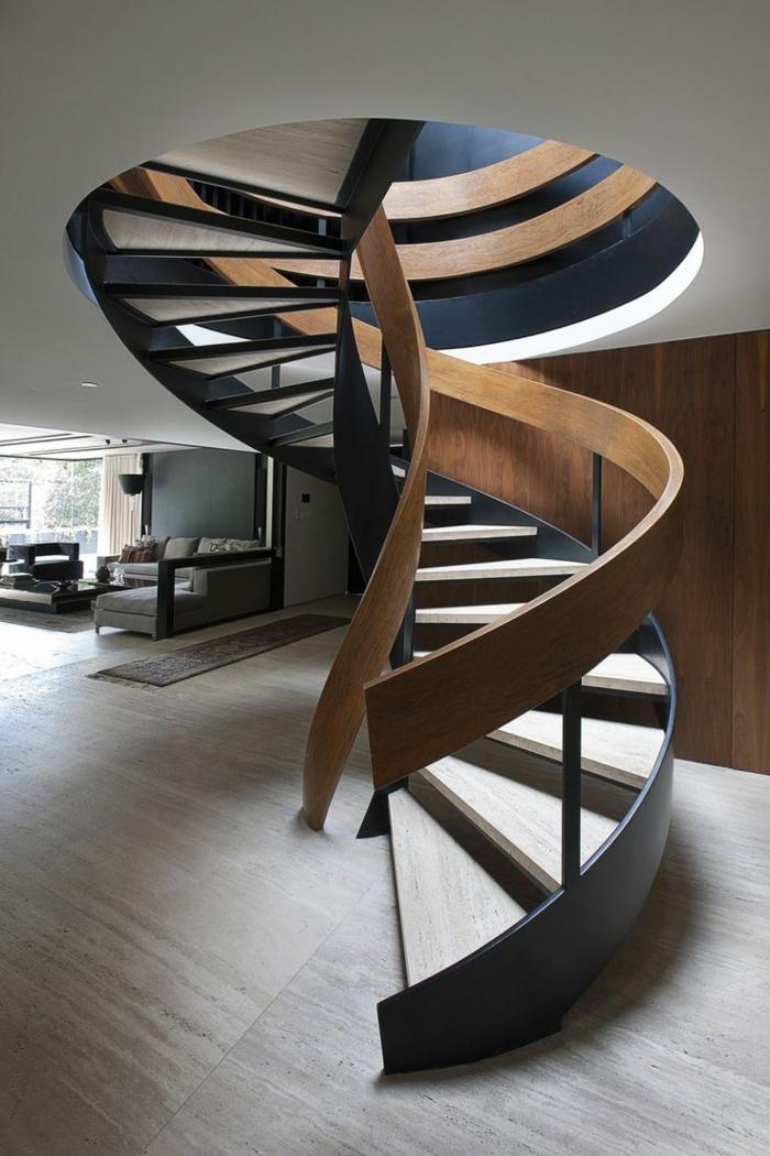 barandillas escaleras, salón grande moderno, escalera de caracol de madera, barandilla en negro y marrón