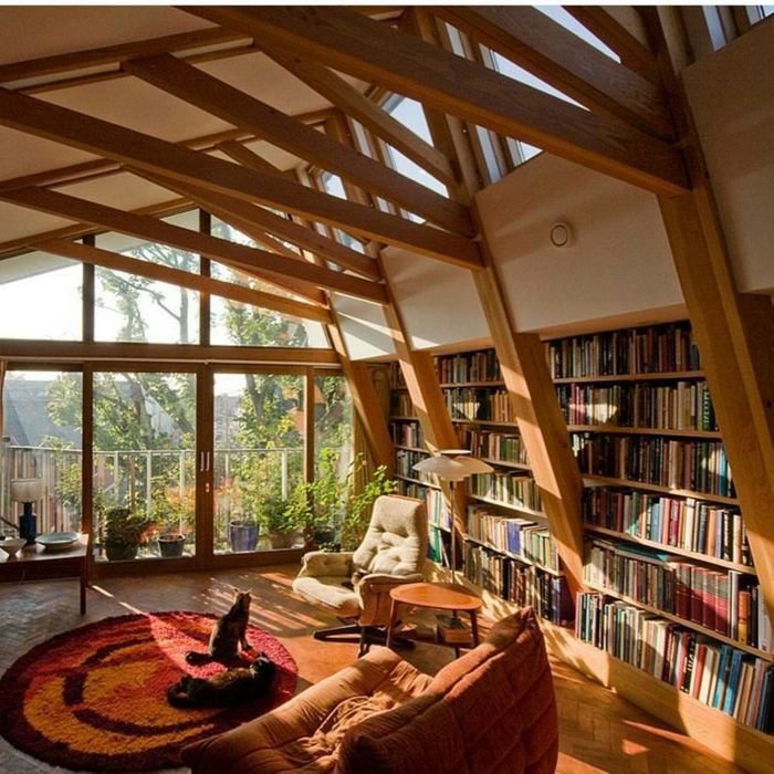 salón con mucha luz natural, techo con vigas de madera, librerias, sofá color naranja, sillón beige, librería grande empotrada que ocupa toda la pared, tapete redondo