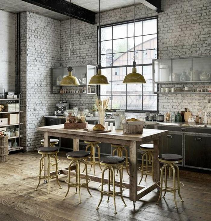 ideas de encanto para amueblar tu cocina comedor, interior con muebles con efecto envejecido, paredes con ladrillos en gris