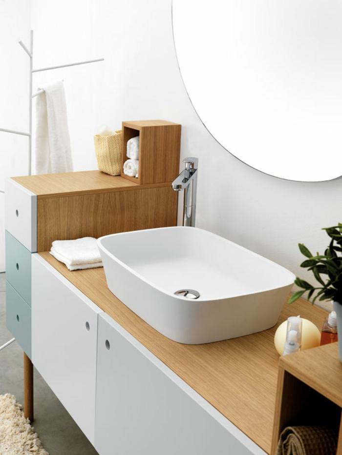 muebles auxiliares para baños, estilo de decoración nórdico, colores pastel, madera, espejo redondo, perchero blanco