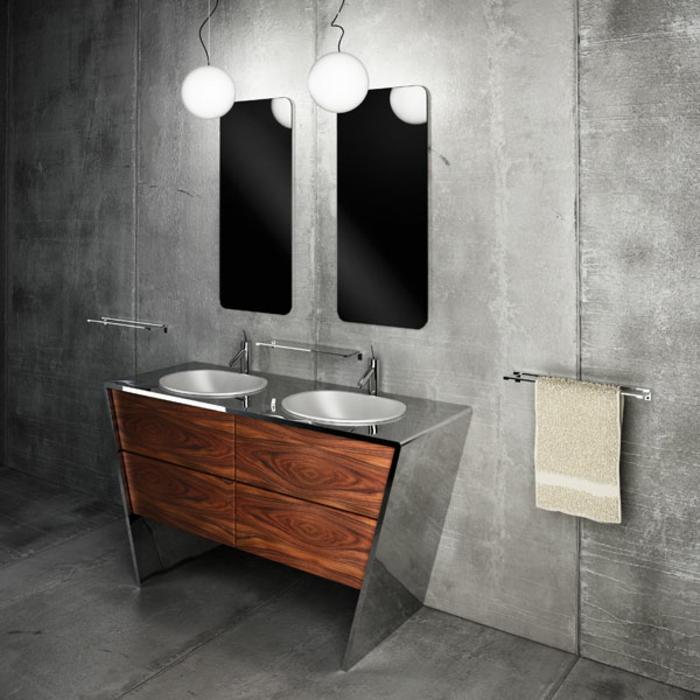 baño en estilo industrial con lavabo doble y dos espejos, mueble lavabo, madera con encimera de metal, pared gris