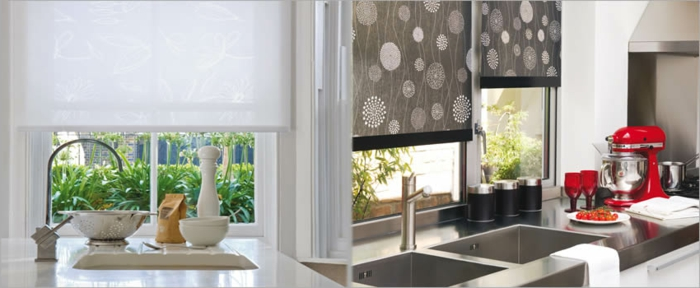 estores para cocina, dos ejemplos de estores de media ventana, estores modernos en blanco y en gris con motivos florales