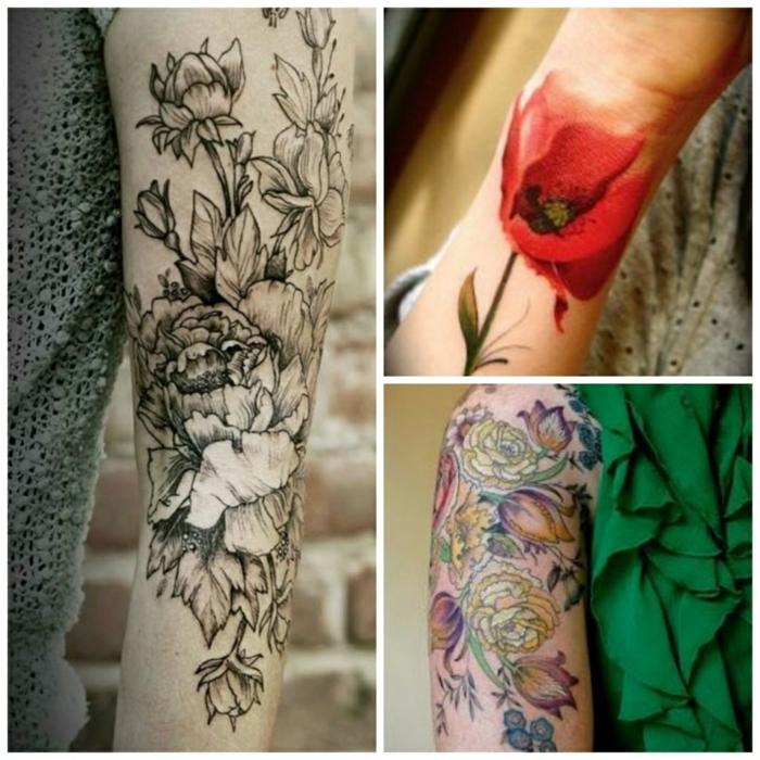 tatuaje muñeca, tres ideas de grandes tatuajes de flores en el brazo y la muñeca, idea en blanco y negro y de color