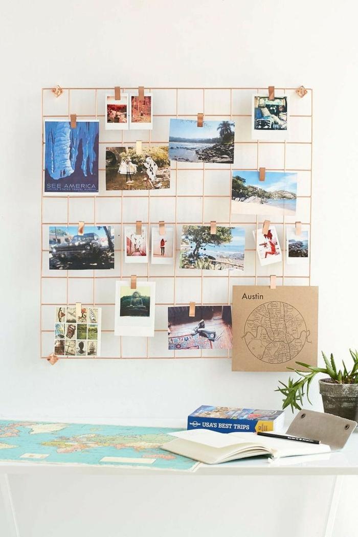 decoracion con fotos, ideas para adornar la pared con una rejilla adornada de fotos, proyectos DIY con fotos