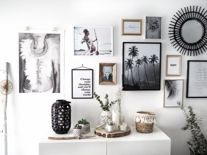 marcos de fotos originales, pared de encanto decorado en estilo boho chic, marcos de fotos de diferente tamaño y color, objetos decorativos de Africa