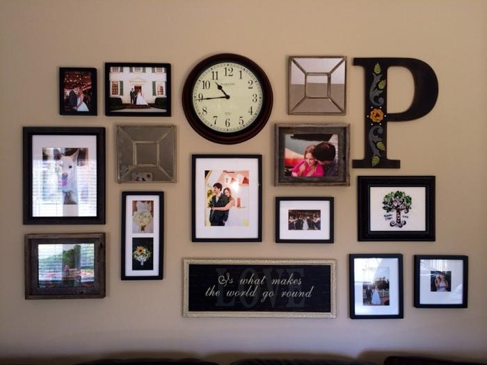 marcos de fotos originales, pared con cuadros decorativos y fotos personales, propuesta para hacer un rincón personal en tu casa