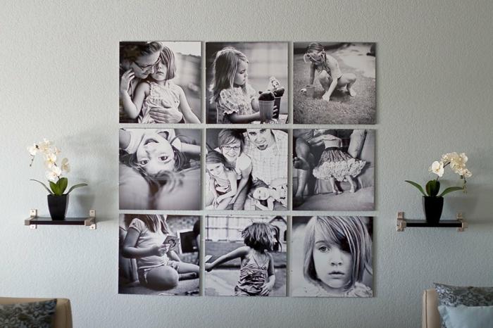 decorar con fotos, ideas para decorar el salón de manera original, cuadro decorativo de fotografías de niñas en blanco y negro