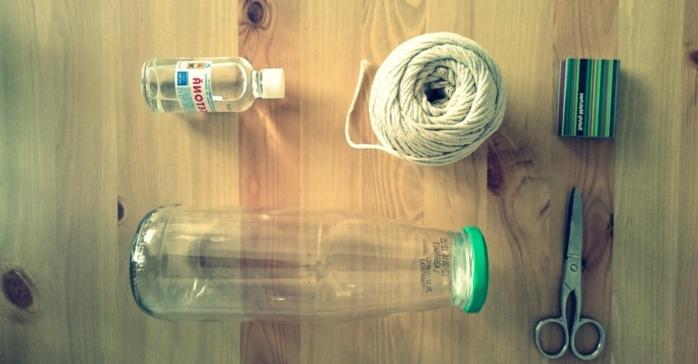 materiales para decorar una botella de vidrio con cañamo, hilo de cañamo, tijeras, botella de leche, botella dibujo propuestas fáciles