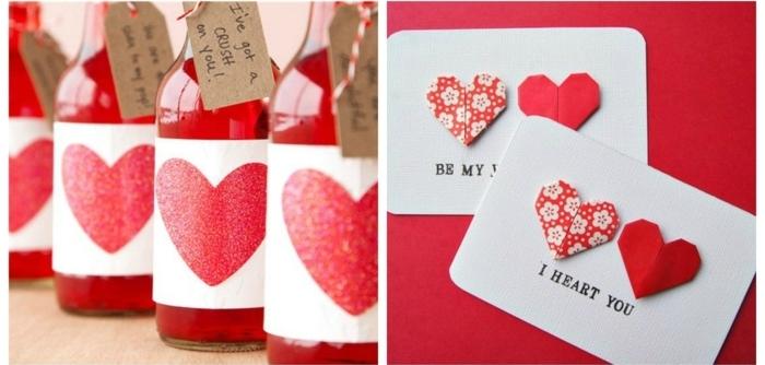 detalles originales para regalar a tu pareja, tarjetas y botellas DIY con ornamentos de corazones, sorpresas romanticas hechas a mano