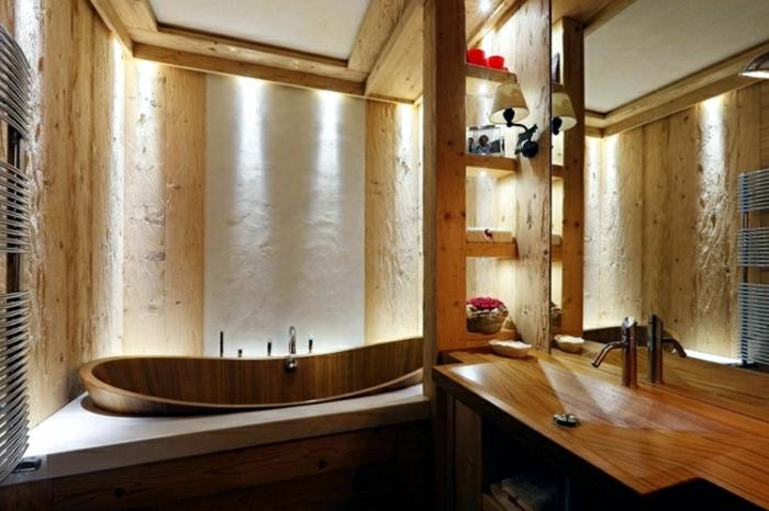 diseño de baño rústico con toque moderno, azulejos para baños en el suelo y revestimiento de madera para las paredes y el techo
