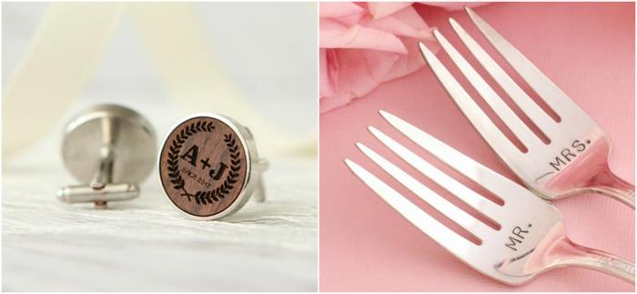 tenedores grabados señor y señora, gemelos de camisa de metal y madera con iniciales, que le puedo regalar a mi novio
