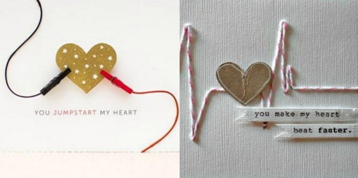 tarjetas hechas a mano originales con motivos de corazones, sorpresas romanticas con mensajes de amor