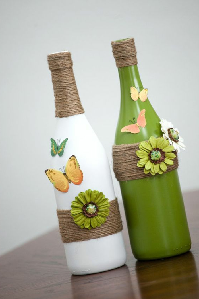 botella dibujo, interesante idea de decorar las botellas de vino, manualidades con materiales reciclados, botellas decoradas con flores