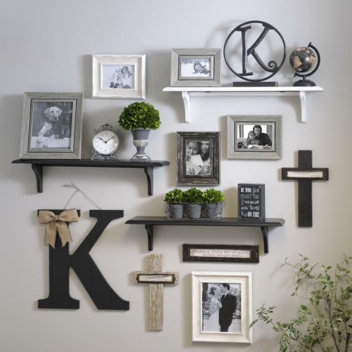 decoracion con fotos, propuesta interesante para decorar la pared en tu casa, fotos de marcos en blanco, gris y negro, decoración de plantas pequeñas