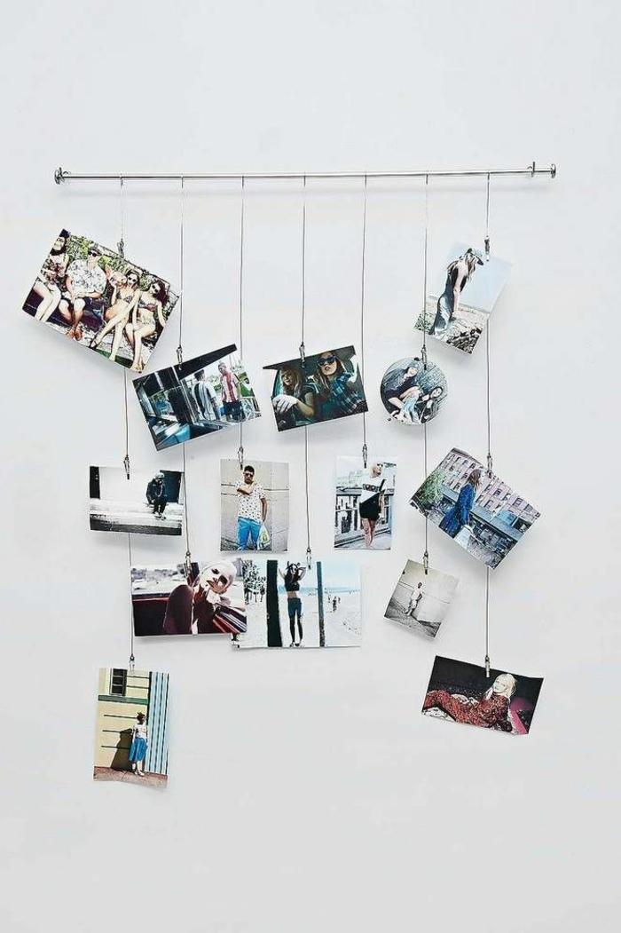 fotos familiares, idea con fotos colgantes para decorar la pared en tu casa, fotografias familiares en colores