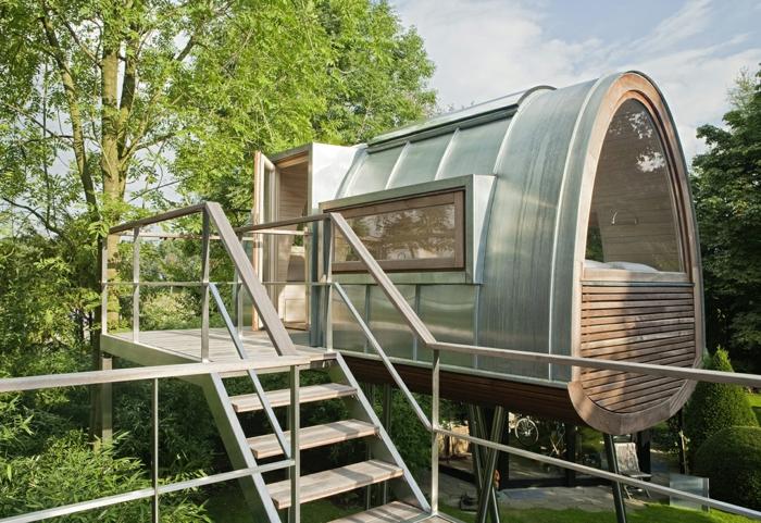 mini casas de ensueño, vivienda mínima de tamaño pequeño y forma oval, propuesta estupenda de casa en la naturaleza