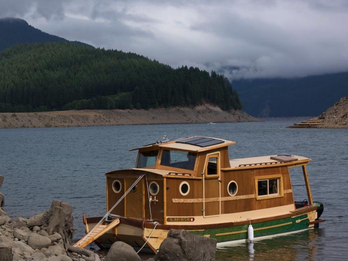 mini casas de ensueño, vivienda minimalista en un pequeño barco de madera, preciosa vista a la montaña