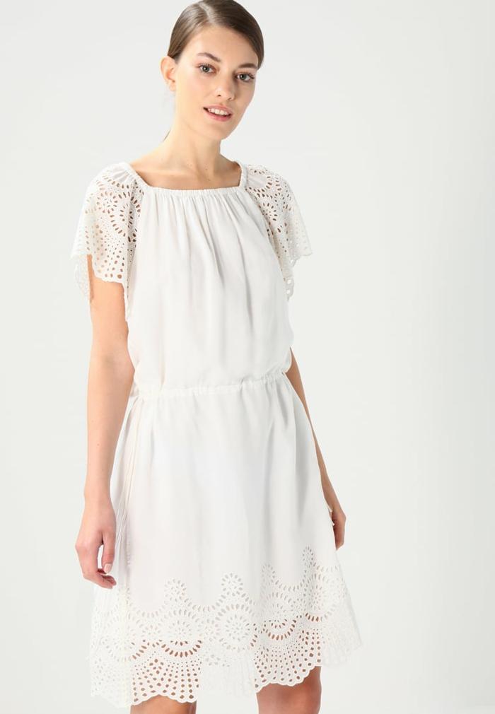 vestidos ibicencos baratos, vestido blanco media pierna, encaje en puntos, mangas cortas, escote cuadrado