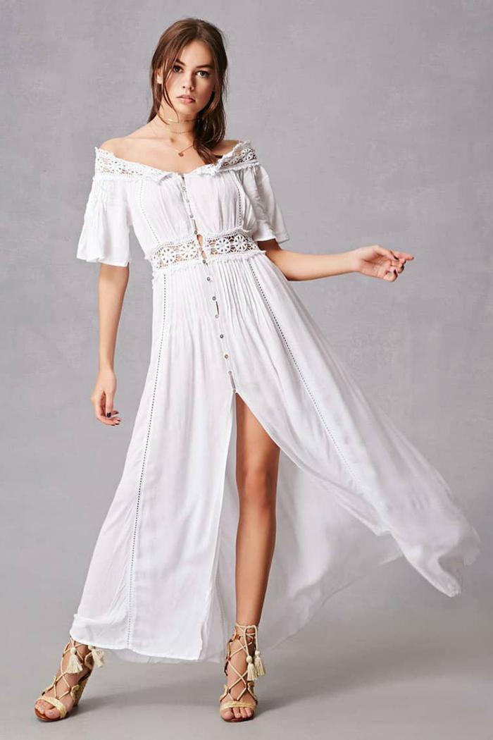 vestidos ibicencos baratos, vestido romántico gippie con escote cisne y henidura, cintura imperio con encaje y botones, mangas cortas, sandalias romanas