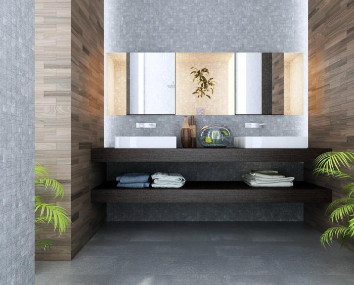 idea de decoración, baños pequeños , modernidad y estilo, lavabo doble, armario con espejo, estantes de madera sólida