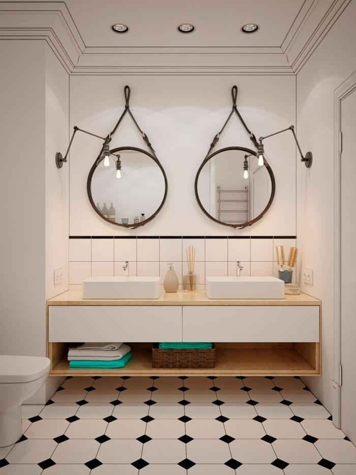 decoración minimalista, baños pequeños, lavabo doble con un mueble lavabo de plástico con encimera de madera, espejos redonodos con cinturones
