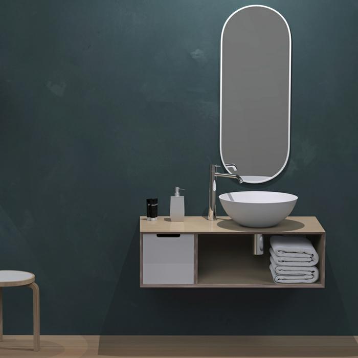 armarios de baño, baño pequeño, estilo moderno, lavabo pequeño, mueble de madera, espejo ovalado, pared pintado oscuro