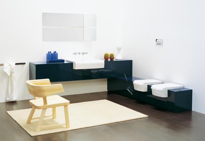decoración minimalista,armarios de baño, azul y blanco, muebles bajos de plástico, mini silla, paredes blancas