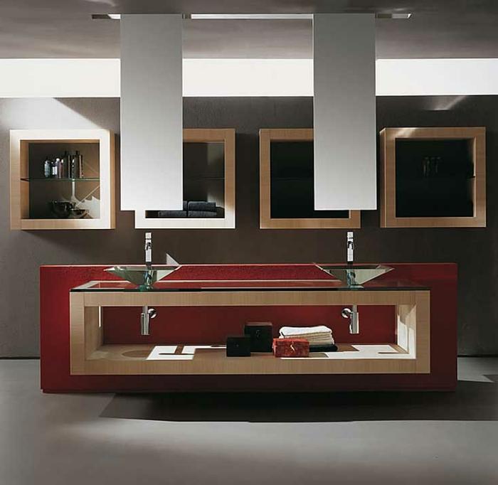 estilo moderno, armario baño, decoración con lavabos de vidrio, mueble de lavabo con madera y encimera de vidrio, estantes cuadrados