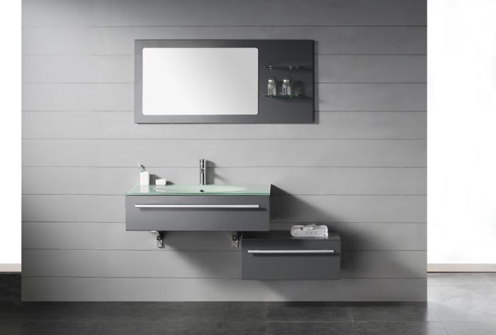 estilo moderno, baño gris minimalista, armario baño, mueble de lavabo de madera con cajón, encimera de vidrio, espejo
