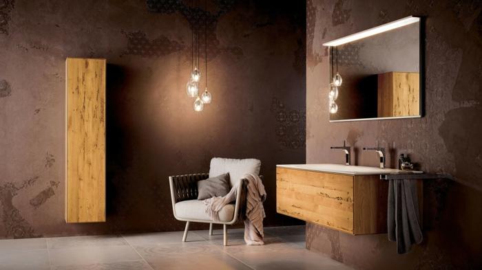 estilo original, muebles de baño modernos, decoración minimalista, armarios de madera natural, sillón, lavabo doble, suelo con baldosas, bombillas colgantes