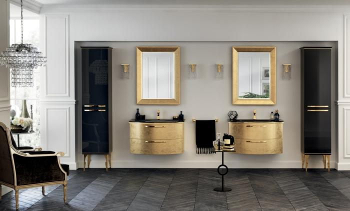 decoración casa, muebles de baño modernos, baño de lujo en negro y dorado, muebles lavabo con cajones, espejos enmarcados, lámpara de araña, sillón, suelo con parquet