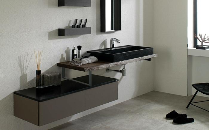 baño pequeño, decoración moderna, muebles de baño modernos, encimera de granito, lavabo negro, mueble bajo, ventana