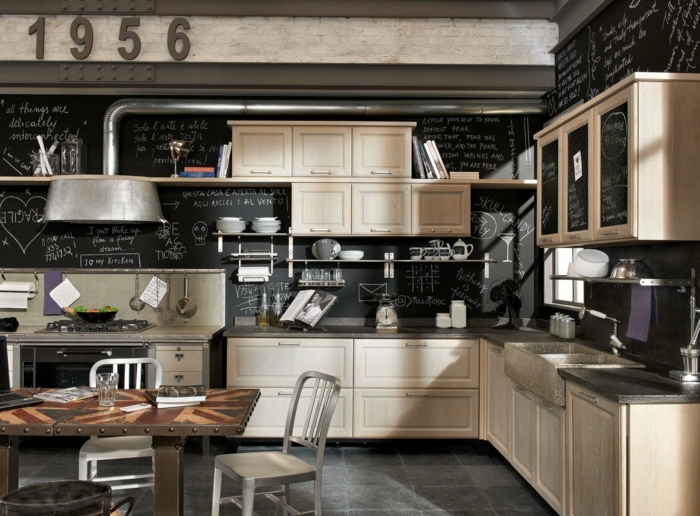 propuesta original para diseñar cocinas, cocina de encanto con muebles de madera decorada en estilo industrial
