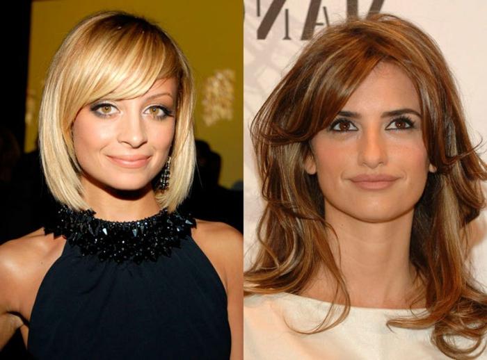 cortes de pelo mujer media melena, medias melenas peinadas a un lado con flequillo largo, tendencias en los peinados