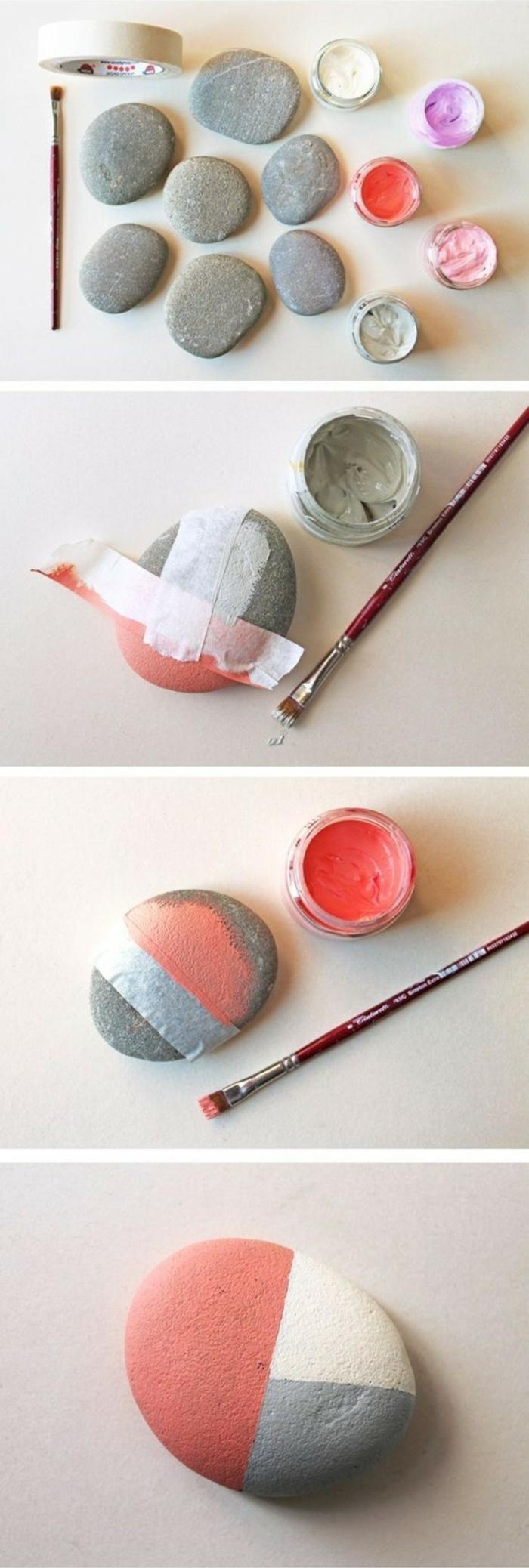 pintar piedras, tutorial paso a paso para pintar una piedra de tres colores con pintura acrilica y cinta adhesiva