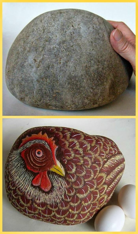 piedras para jardin, piedra natural grande pintada como gallina con plumas y huevos blancos, imagen efecto 3D