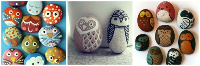 piedras para jardin, ideas de piedras pintadas con caras de pájaros y animales, manualidades fáciles para niños