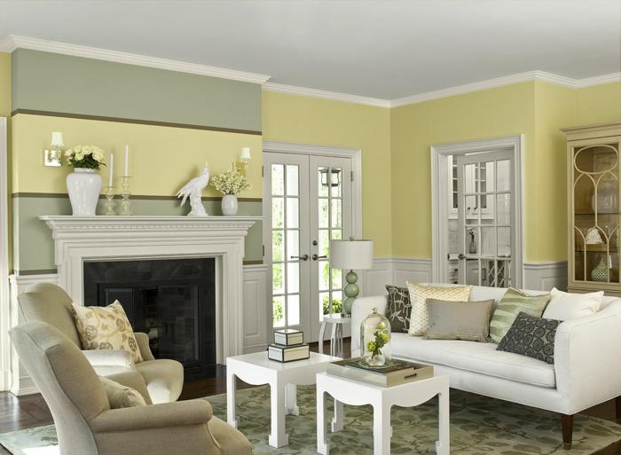 pinturas para salones, decoración rústica con paredes en ctres colores, verde seco, amarillo, chimenea de obra, carpintería blanca