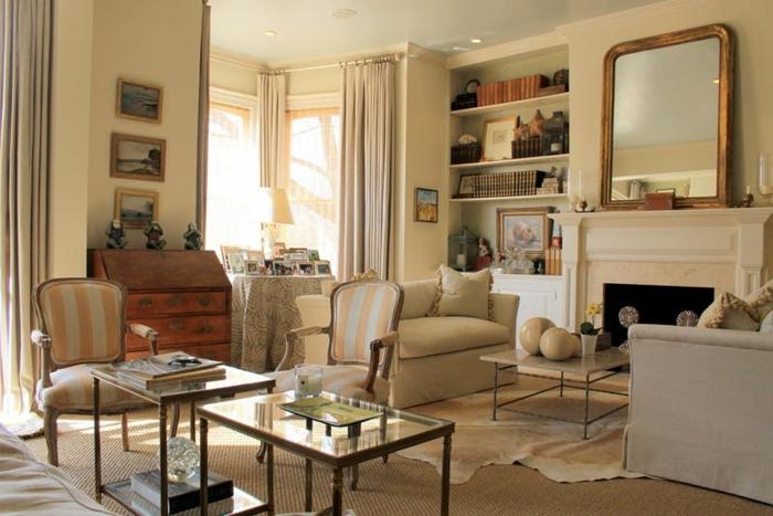 decoracion vintage, colores para paredes, idea en beige, cortinas masivas, librería, mesas de vidrio, chimenea y espejo grande antiguo