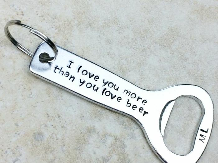 sorpresas para tu pareja originales, regalo de San Valentín para hombre, abridor de botellas de cerveza con un mensaje amoroso