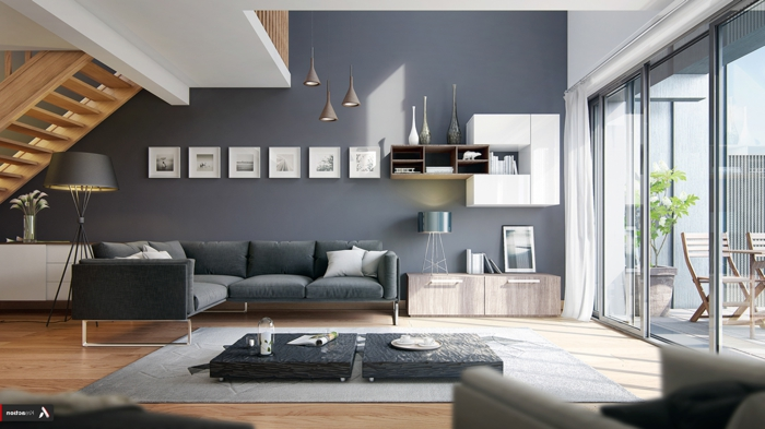 estilo contemporaneo, salon moderno, casa con escaleras de madera, pared en gris azulado, cuadros en blanco y negro, mesa a ras del suelo