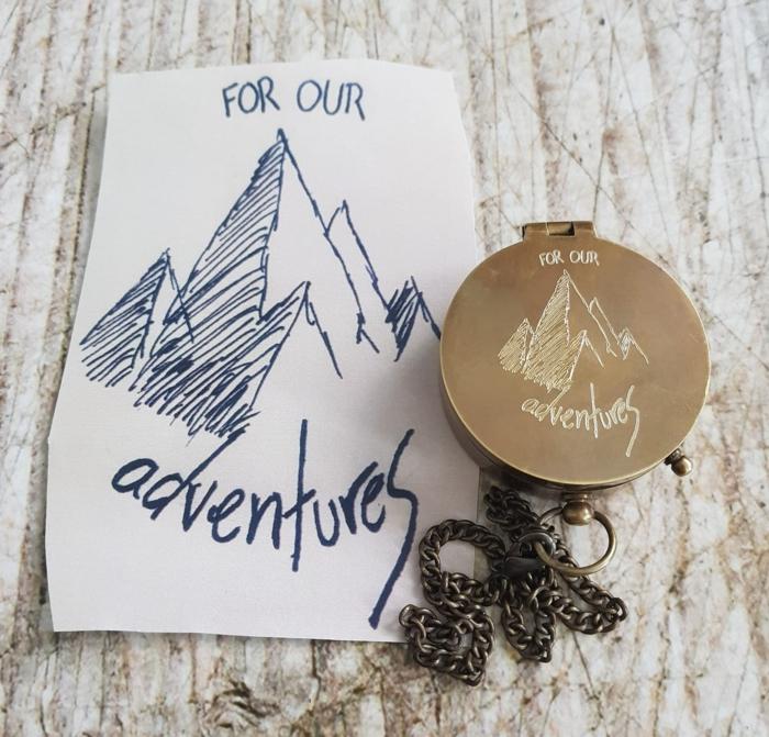 brújula amorosa, regalo para viajeros, metal cobrizo y cadena, como sorprender a tu novio, un regalo para nuestras aventuras juntos