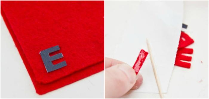 tutorial manualidades, como sorpender a tu novio, tela gruesa roja, como cortar letras para hacer mini piñatas para san valentin