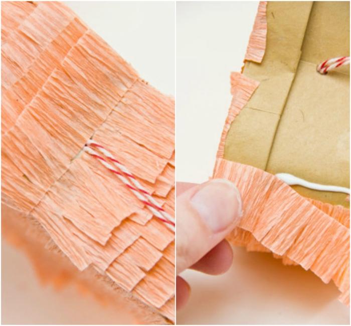 paso a paso, cómo pegar papel crepe en cartón para hacer piñata, que le puedo regalar a mi novio, papel crepe color melocoton