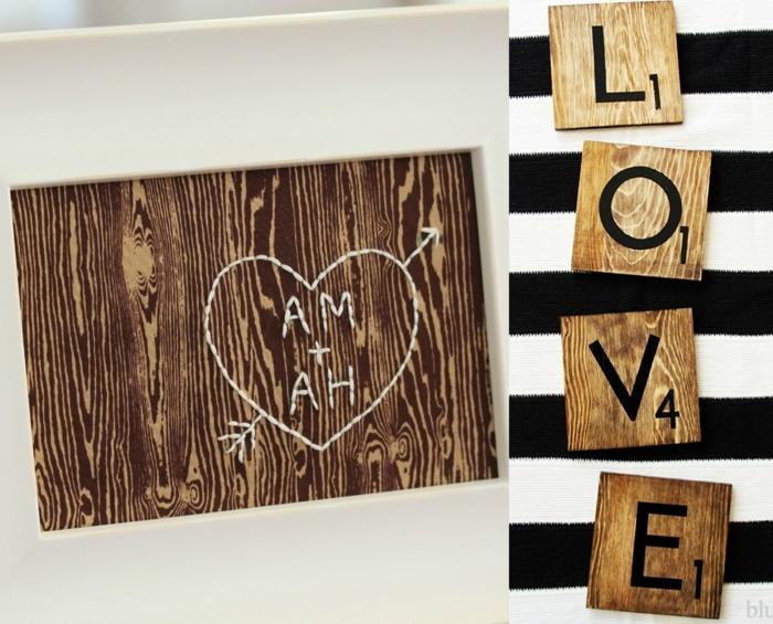 detalles decorativos hechos de madera con mensaje amoroso, ideas DIY para la fiesta de San Valentín