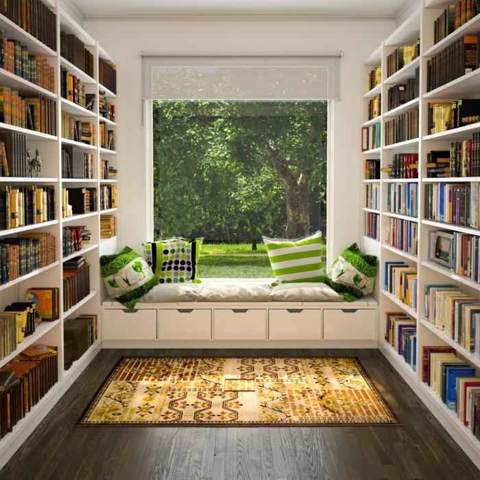 estanterias de pared, madera blanca, rincón de lectura, ventana grande con vista al parque, banco con colchoneta y cojines, blanco y verde, tapete